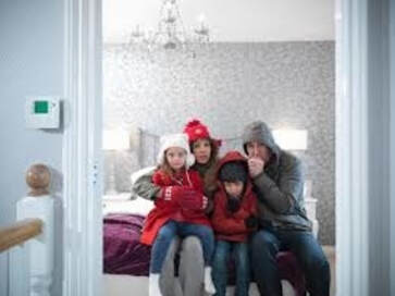 family in home all cold